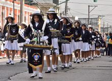 Guatemalan school band. School  band participating in the preparation of the festive parade in honor of the Independence Day of Guatemala. Guatemala City. 15/09 Royalty Free Stock Image