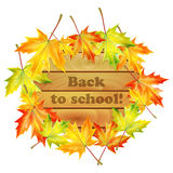 School banner with autumn maple leaves Stock Photos