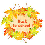 School banner with autumn maple leaves Royalty Free Stock Photography