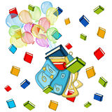 School banner,color baloons with schoolbag ,color books. School banner, sign, color baloons with schoolbag ,color books in the air, study icon Stock Photos