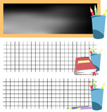 School banner set 1. Collection of school banners with colored pencils and blackboard Royalty Free Stock Image