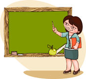 School  banner. With teacher at the blackboard. Place for text Royalty Free Stock Photo