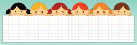School banner. Vector illustration. Kids holding a blank squared paper sheet. Vector illustration Stock Image