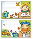 School banners with cute children (part 2) Royalty Free Stock Image