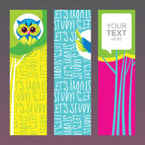 School banners set. Lets study - cute vector banners with tree and owl Royalty Free Stock Photo