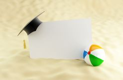 School at the beach, graduation cap blank. Beach ball Stock Photography
