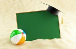 School at the beach,. Graduation cap blank, beach ball Stock Image