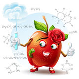 School beauty apple with a worm and with a test tube in hand with the chemical formulas Stock Photo