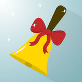 School bell icon with a red bow. Stock Image