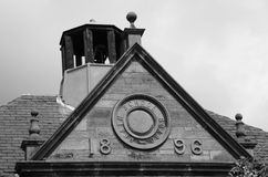 School Bell. A view of the rooftop school bell on a primary school building in Kelty Stock Photo