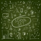 School big set on blackboard. Vector illustration. Royalty Free Stock Photos