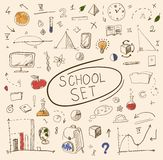 School big set on whiteboard. Vector illustration. Stock Photos