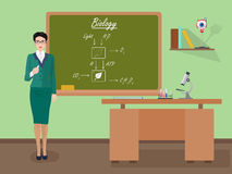 School Biology female teacher in audience class concept. Vector illustration. Stock Image