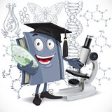 School biology textbook with microscope hold Infusoria on DNA ba Stock Image