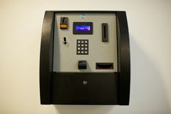 School biometric finger print scanner machine stock image