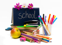 School 0bjects and apple. Teacher Day Stock Photo