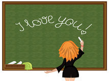School blackboard. Girl wrote I love you at the  school blackboard Stock Images