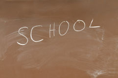 School blackboard. Brown School blackboard with text Royalty Free Stock Images