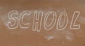 School blackboard. Brown School blackboard with text Stock Photo