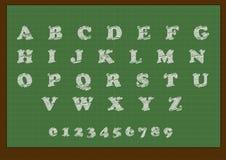 School blackboard with an alphabet. Illustration of the school blackboard with an alphabet and numbers stock illustration