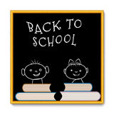School blackboard  back to school with faces and books Royalty Free Stock Photos