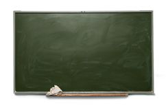School blackboard. Blank school blackboard on white stock images