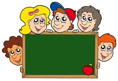 School blackboard with children Royalty Free Stock Photos