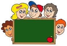 School blackboard with children stock illustration