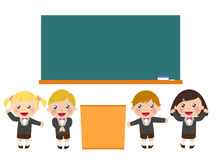 School blackboard with children Royalty Free Stock Photography