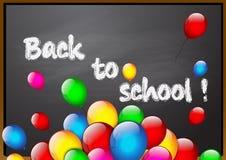 School blackboard with color balloons. Vector Stock Photos