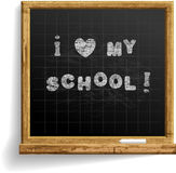 School Blackboard with expression I love my school . Realistic image. Handmade font was used. Smartly grouped and layered Royalty Free Stock Images