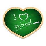 The school blackboard green in the shape of heart Stock Image