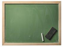 School blackboard, isolated. School blackboard with chalk and eraser, isolated on white background Stock Image
