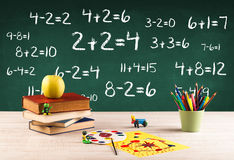 School blackboard with pile of books Royalty Free Stock Photography