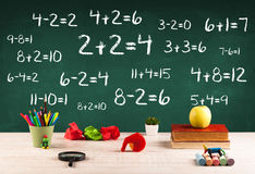 School blackboard with pile of books Royalty Free Stock Images