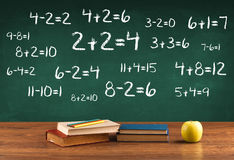School blackboard with pile of books Royalty Free Stock Image