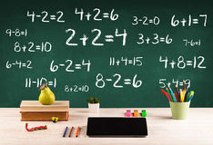School blackboard with pile of books Royalty Free Stock Photo