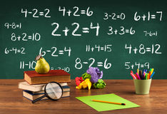 School blackboard with pile of books Stock Images