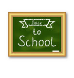 School blackboard with text, on white background Royalty Free Stock Photo