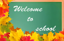 School blackboard with words welcome to school Stock Photo
