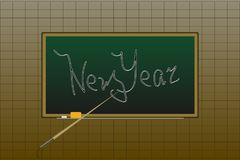 School board and accessories. Text - New Year.  vector illustration