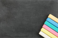 School board with color chalk Royalty Free Stock Photography