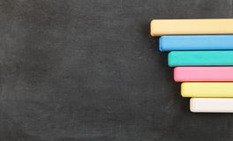 School board with color chalk Stock Photo