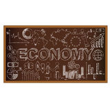 School board doodle with ecomony symbols. Vector Royalty Free Stock Photography