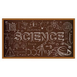 School board doodle with science symbols. Vector Royalty Free Stock Images