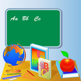 School board with globe book and apple Royalty Free Stock Images