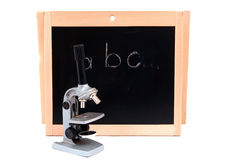 School board with a microscope Royalty Free Stock Image