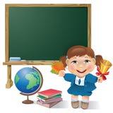 School board, school girl and globe Stock Photos