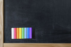 School board with a set of colored crayons. Royalty Free Stock Photo