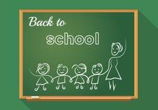 School board, stylization, lines, teacher with school children Royalty Free Stock Images